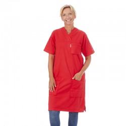 klänning krinklad 100% bomull Röd