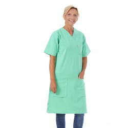 Klänning i krinklad 100% bomull Grön