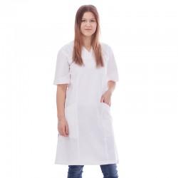 Klänning i krinklad 100% bomull vit