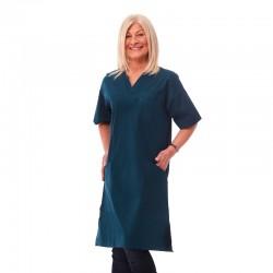 Klänning i nytt material polyester/bomull stretch Grönblå