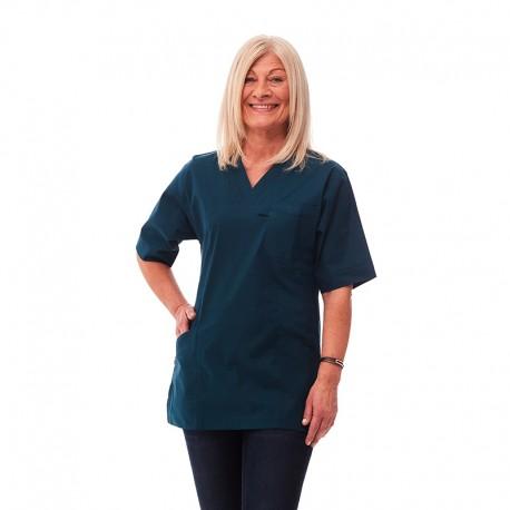 Tunika i nytt material polyester/bomull stretch Grönblå